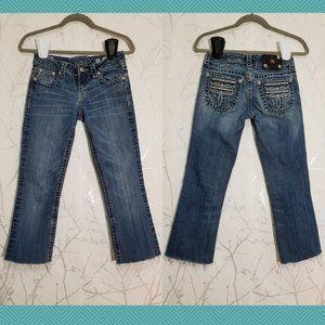 Miss Me Cropped Raw Hem Embellished Jeans